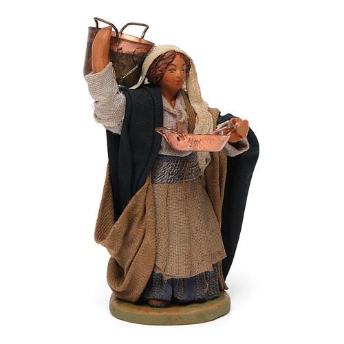 Femme avec casserole crèche Napolitaine 10 cm 3
