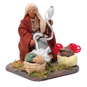Woman spinning 10 cm for nativity scene s3