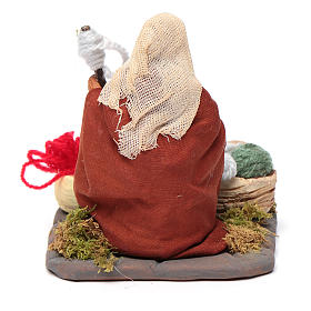 Woman spinning 10 cm for nativity scene s4