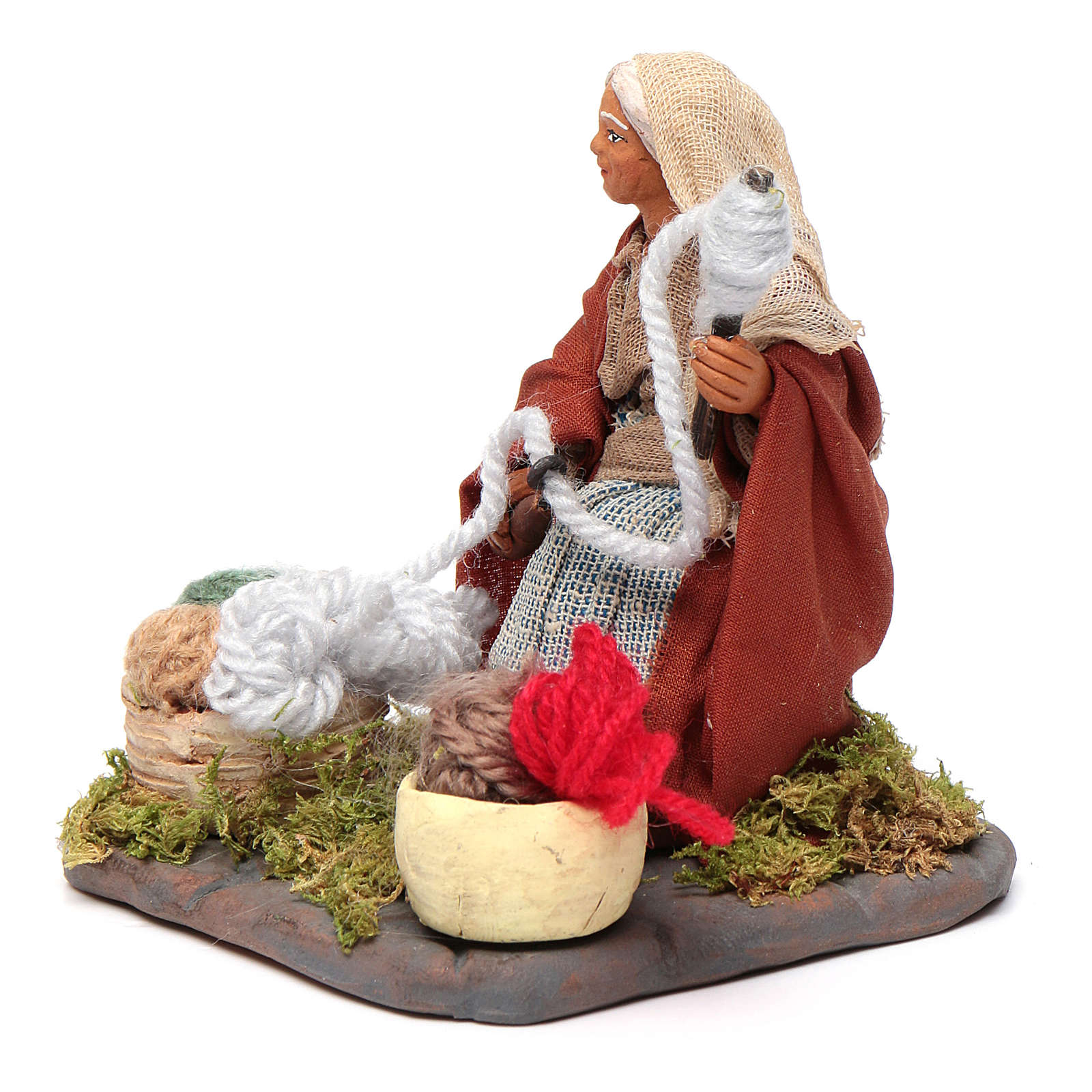 Woman spinning 10 cm for nativity scene 4