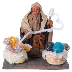 Woman spinning 10 cm for nativity scene s5