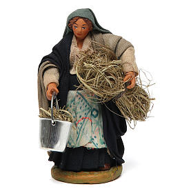 Woman with basket and straw 10 cm for nativity set s1