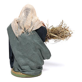 Woman with basket and straw 10 cm for nativity set s4
