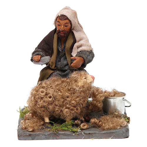 Shearer with sheep 10 cm for nativity set 1