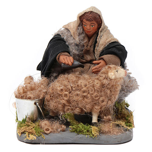 Santon tondeur de moutons crèche 10 cm 1