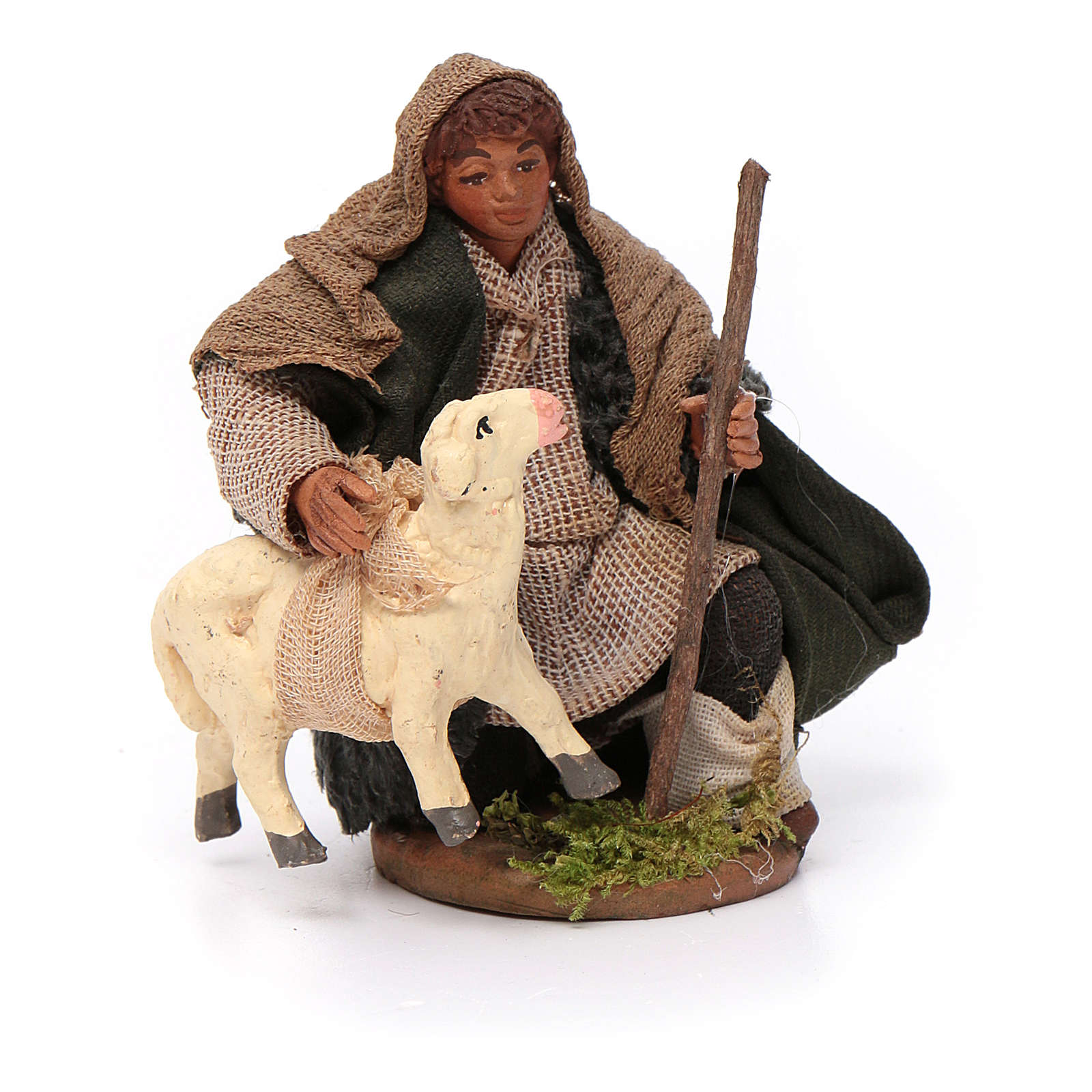 Santon berger avec mouton crèche 10 cm 4