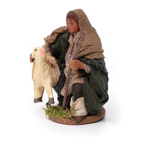 Santon berger avec mouton crèche 10 cm 2