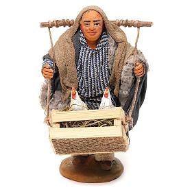Crèche Napolitaine: Homme avec cage et poulets 10 cm