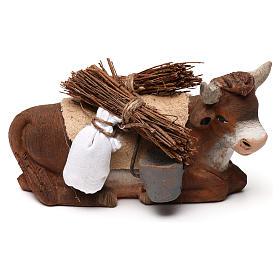 Neapolitan Nativity Scene: Ox seated and harness 10 cm for nativity set