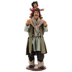 Man with child on his shoulder  nativity scene 14 cm s1