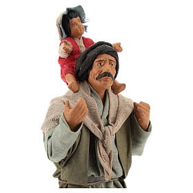 Man with child on his shoulder  nativity scene 14 cm s2