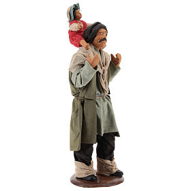 Man with child on his shoulder  nativity scene 14 cm s4