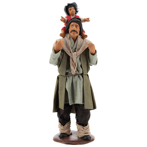 Man with child on his shoulder  nativity scene 14 cm 1