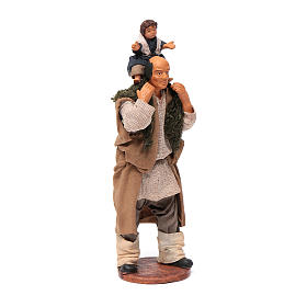 Man with child on his shoulder  nativity scene 14 cm s3
