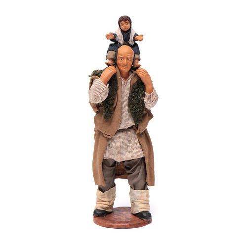 Man with child on his shoulder  nativity scene 14 cm 5