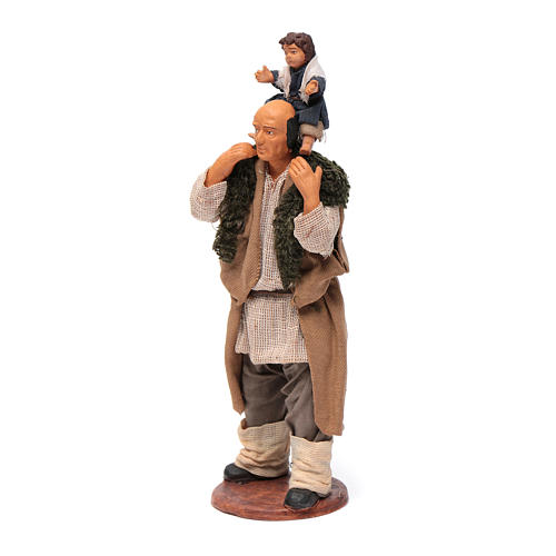 Man with child on his shoulder  nativity scene 14 cm 6