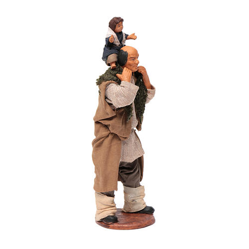 Man with child on his shoulder  nativity scene 14 cm 8