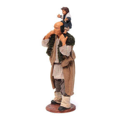 Man with child on his shoulder  nativity scene 14 cm 2