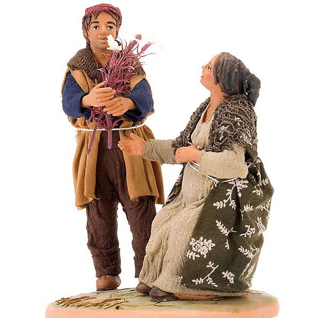 Scena donna incinta uomo con fiori 14 cm 4