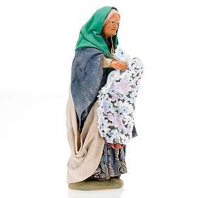 Santon femme avec linge crèche 14 cm s2