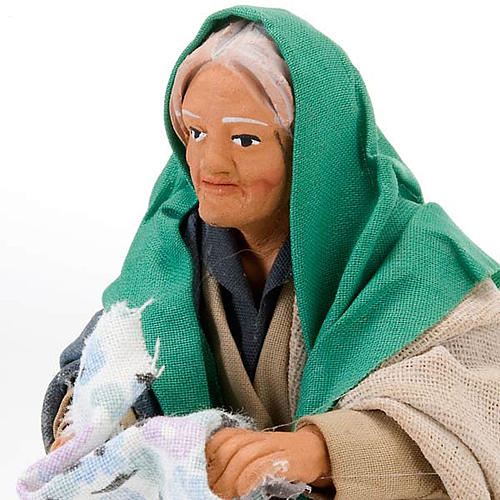 Nativity set accessory Woman with cloth 14 cm 3