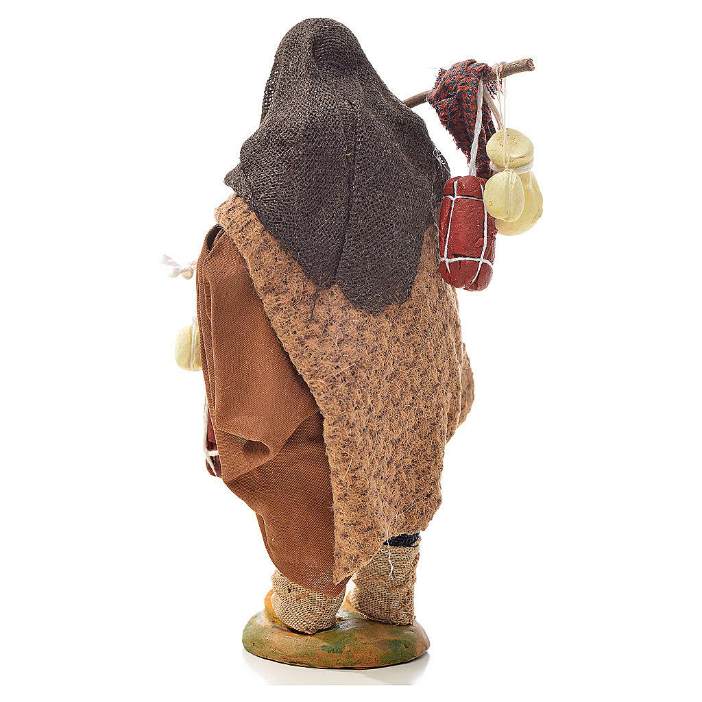 Voyageur avec charcuterie et fromages crèche 14 cm 4