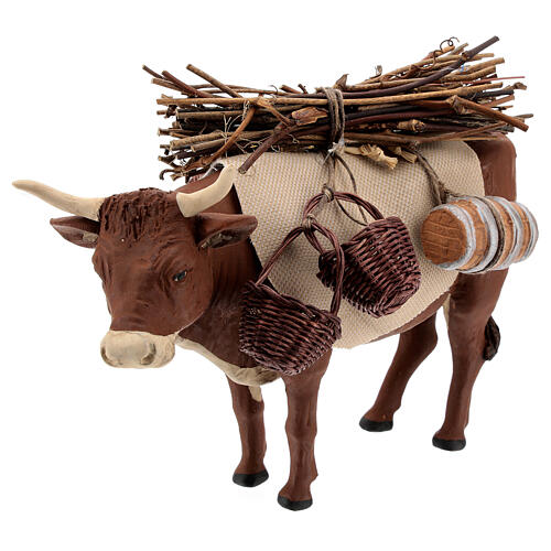 Nativity set accessory Ox standing and harness 14 cm 2