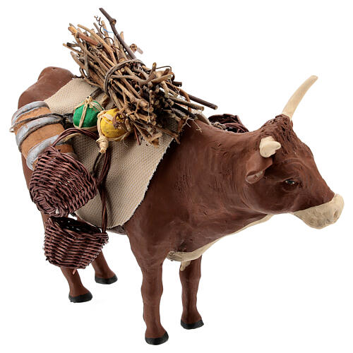 Nativity set accessory Ox standing and harness 14 cm 3