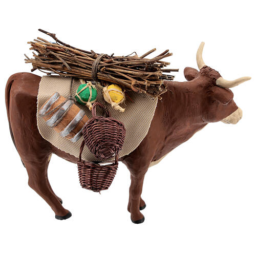 Nativity set accessory Ox standing and harness 14 cm 4