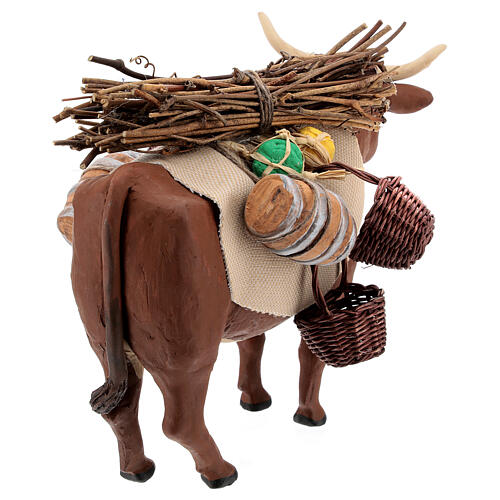 Nativity set accessory Ox standing and harness 14 cm 5