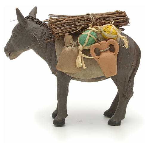 Nativity set accessory Donkey standing and harness 14 cm 3
