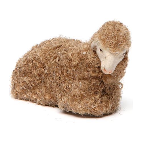 Pecora lana accovacciata 14 cm 2