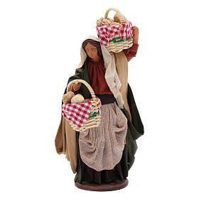 Donna con cesti di pane 14 cm s1