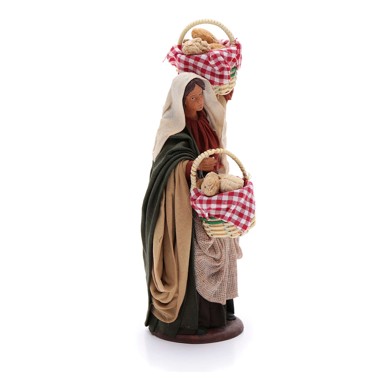 Woman with baskets of bread 14 cm nativity set 4