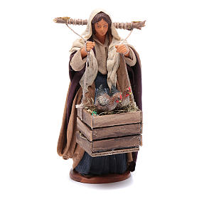 Neapolitan Nativity Scene: Woman with hens in boxes 14 cm nativity set