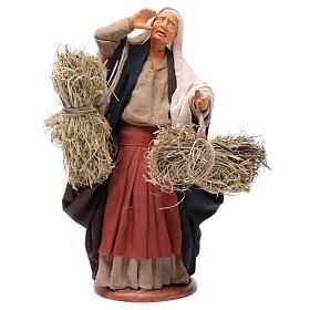 Countrywoman with straw bundles for nativity scene 14 cm s1
