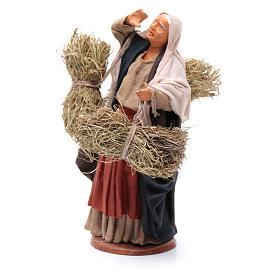 Countrywoman with straw bundles for nativity scene 14 cm s2