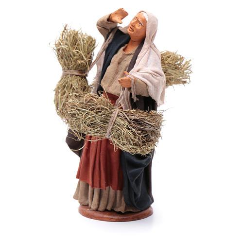 Countrywoman with straw bundles for nativity scene 14 cm 2