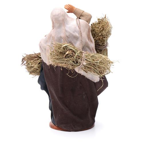Countrywoman with straw bundles for nativity scene 14 cm 4