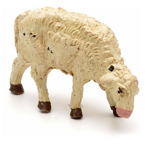 Mouton laine tête baisée crèche 10 cm 3