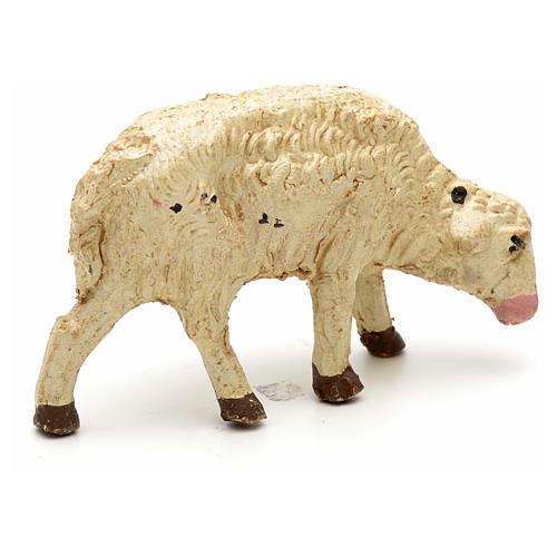 Mouton laine tête baisée crèche 10 cm 5