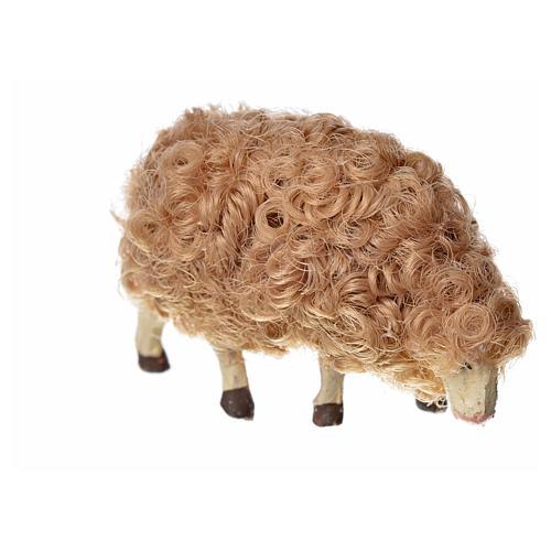 Mouton laine tête baisée crèche 10 cm 6