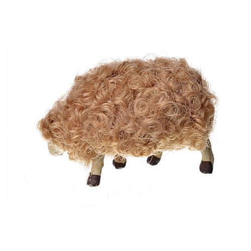 Mouton laine tête baisée crèche 10 cm 7