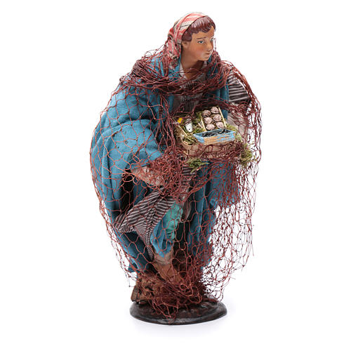Neapolitan nativity figurine, fisherman 30cm 3