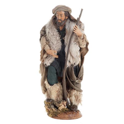 Neapolitan nativity figurine, shepherd with cane 30cm 1