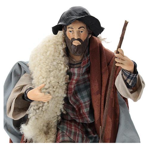 Neapolitan nativity figurine, shepherd with cane 30cm 2