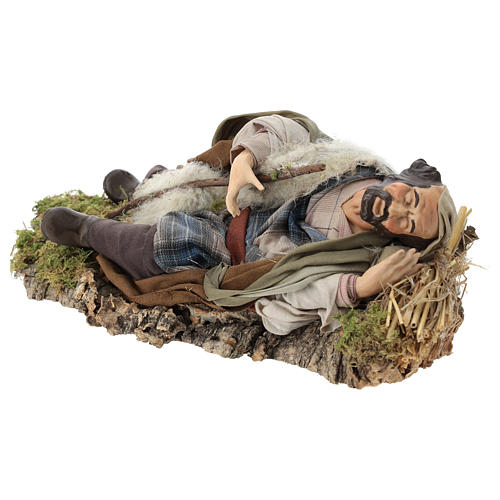 Neapolitan nativity figurine, resting traveler 30cm 3