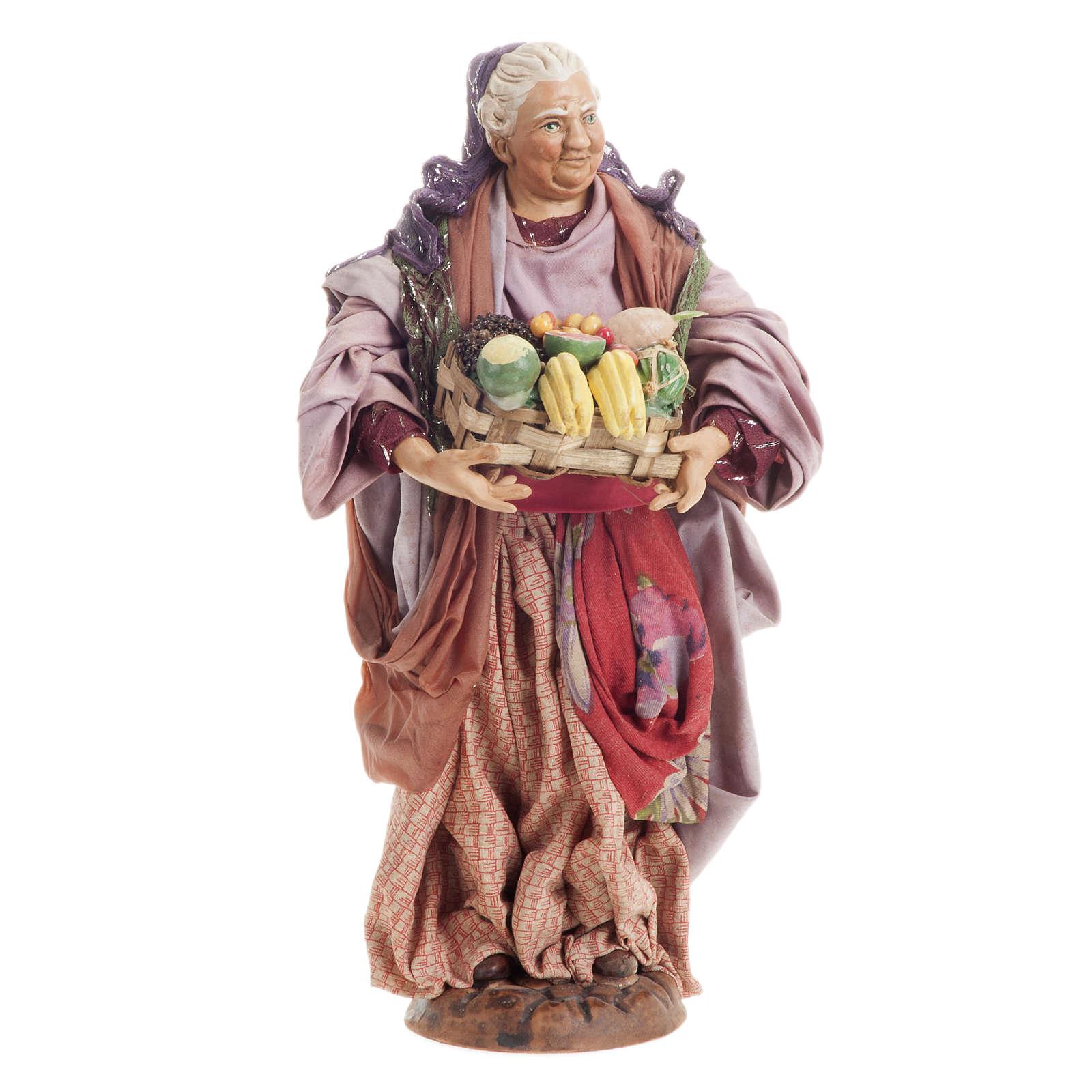 Donna con cesto di frutta 30 cm presepe Napoli 4