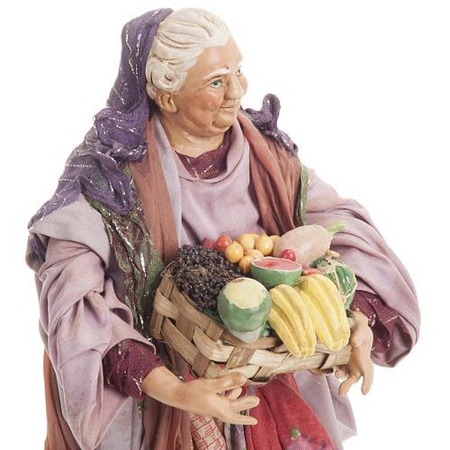 Donna con cesto di frutta 30 cm presepe Napoli 2