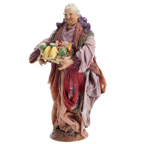 Donna con cesto di frutta 30 cm presepe Napoli 3